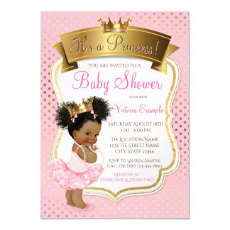 African American Princess Baby Shower Invitations カード