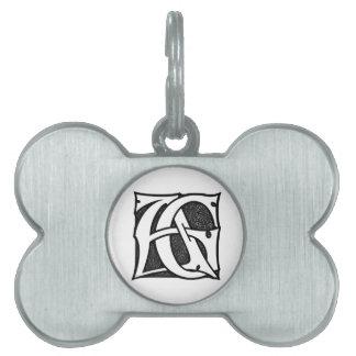 AGのモノグラム-ゴシック様式スタイルの手紙のイニシャルAG ペットネームタグ