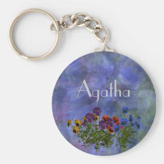 Agathaの紫色のパンジーの名前のギフト ベーシック丸型缶キーホルダー