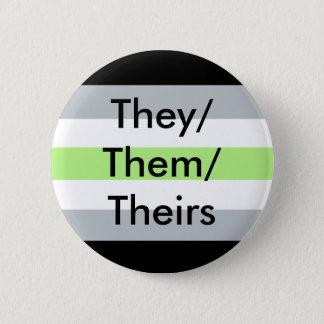 Agenderの旗それらまたはそれらまたは彼等の物ボタン 5.7cm 丸型バッジ