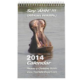 「AHH」!言って下さい!! -アフリカの野性生物のカレンダーの2014年の1ページ カレンダー