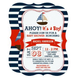 Ahoyそれは男の子です! 航海のなボートのベビーシャワーの招待 12.7 x 17.8 インビテーションカード