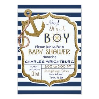 Ahoyそれは男の子の航海のなテーマのベビーの招待状です カード