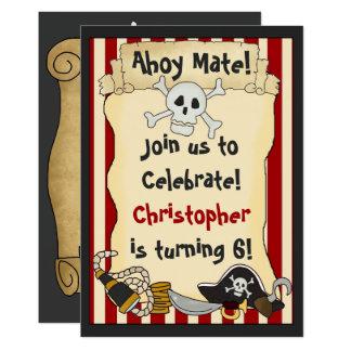 Ahoy仲間! 海賊男の子の誕生日のパーティの招待状 12.7 x 17.8 インビテーションカード