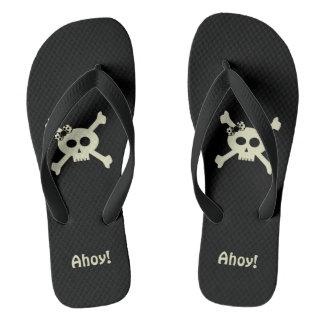 Ahoy! かわいいPirate Skull Black女性ビーチサンダル ビーチサンダル