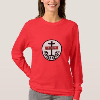 Ahoy -女性の基本的な長袖のTシャツの Tシャツ