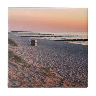 Ahrenshoopのビーチの日没 タイル