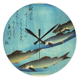 Ai (マス) - Hiroshigeの日本のな魚のプリント ラージ壁時計