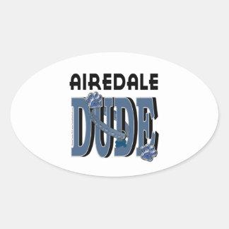 Airedaleの男 楕円形シール