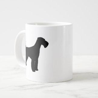 Airedaleテリアのシルエット ジャンボコーヒーマグカップ