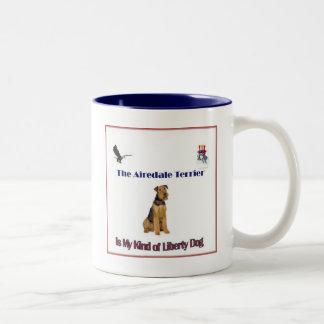Airedaleテリアのマグ ツートーンマグカップ