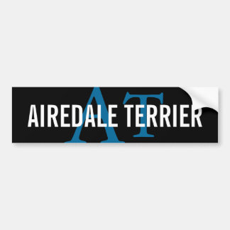 Airedaleテリアの品種モノグラム バンパーステッカー