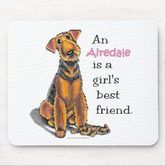 Airedaleテリアの女の子の親友 マウスパッド