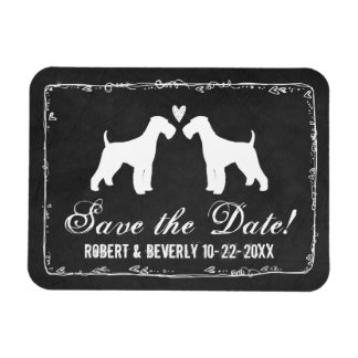 Airedaleテリアの黒板の結婚式の保存日付 マグネット