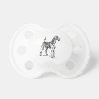 Airedaleテリアエレガントな犬のスケッチ おしゃぶり