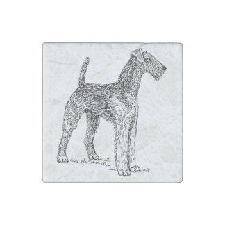 Airedaleテリアエレガントな犬のスケッチ ストーンマグネット
