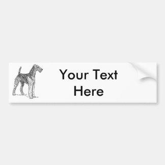 Airedaleテリアエレガントな犬のスケッチ バンパーステッカー