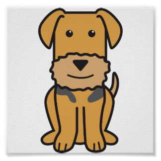 Airedaleテリア犬の漫画 ポスター