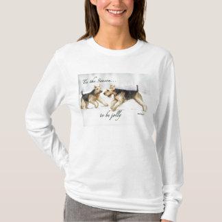 Airedaleテリア犬の芸術のクリスマスのワイシャツ Tシャツ