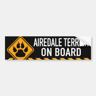 Airedaleテリア船上に バンパーステッカー