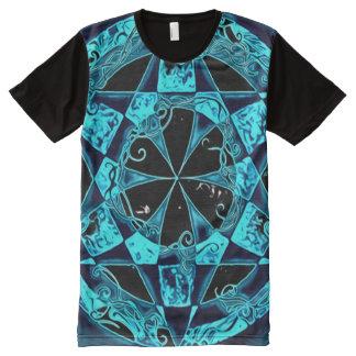 Akashaのカラフルな芸術の曼荼羅の青い円 オールオーバープリントT シャツ