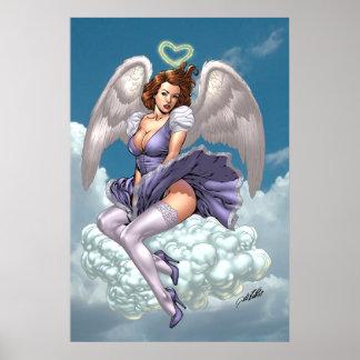 Alリオによるハートのハローのブルネットの天使のピンナップ ポスター