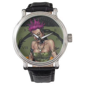 Alリオによるピンクの髪のパンクロックの代わりとなる女の子 腕時計