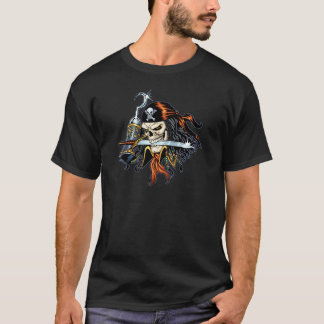 Alリオによる剣そしてホックを持つスカルの海賊 Tシャツ