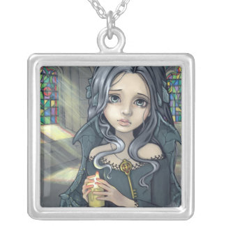 Alannahのネックレスのゴシック様式妖精の蝋燭 シルバープレートネックレス