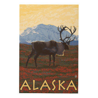 AlaskaCaribouのヴィンテージ旅行ポスター ウッドウォールアート