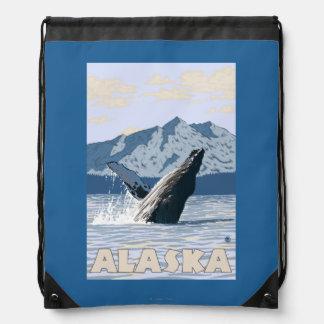 AlaskaHumpbackのクジラのヴィンテージ旅行ポスター ナップサック