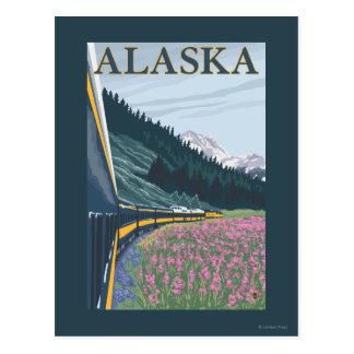 AlaskaRailroadおよびFireweedのヴィンテージ旅行 ポストカード