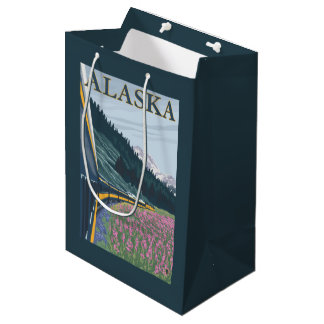 AlaskaRailroadおよびFireweedのヴィンテージ旅行 ミディアムペーパーバッグ