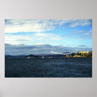Alcatraz及びサンフランシスコ湾上のブルーエンジェル ポスター