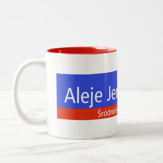 Aleje Jerozolimskie、ワルシャワのポーランドの道路標識 ツートーンマグカップ