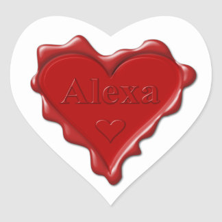 Alexa。 一流のAlexaの赤いハートのワックスのシール ハートシール