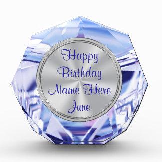 Alexandriteの名前入りな6月の誕生日プレゼント 表彰盾