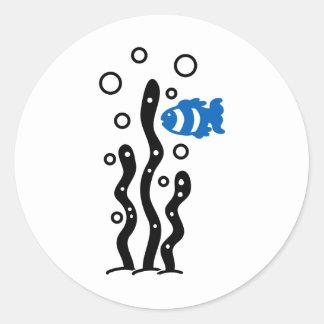 algaesを持つ小さく青い魚 ラウンドシール