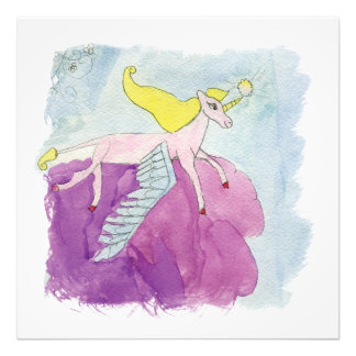 Alicornによってはピンクの子馬の馬が飛びました フォトプリント