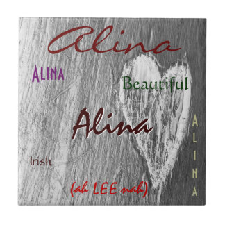 Alina Name Irish Meaning with Light Grey Heart タイル