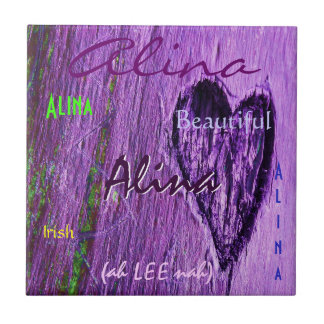 Alina Name Irish Meaning with Purple Heart タイル