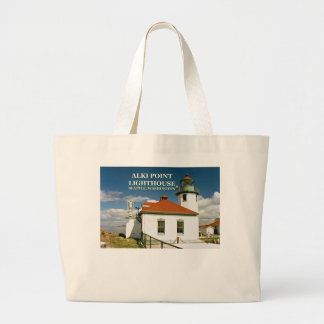 Alkiポイント灯台、シアトルワシントン州 ラージトートバッグ