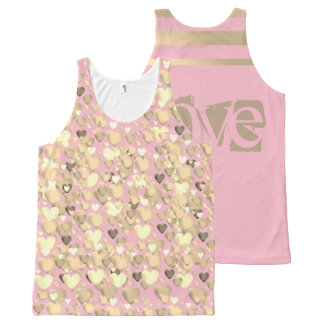 All-Over Printed Tank-Pink and gold, love designed オールオーバープリントタンクトップ