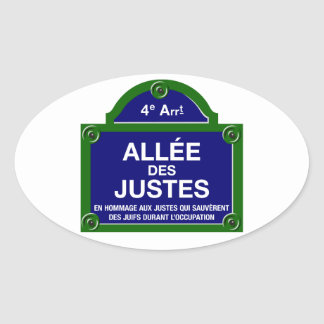 Allée des Justesのパリの道路標識 楕円形シール