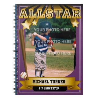 ALLSTARの紫色のベースボールカード ノートブック