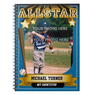 ALLSTARの青いベースボールカード ノートブック