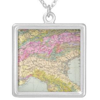Alpenlander -アルプスの地図書の地図 シルバープレートネックレス