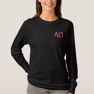 ALPHA/OMEGA P/Bの女の子の長いティー 刺繍入り長袖Tシャツ