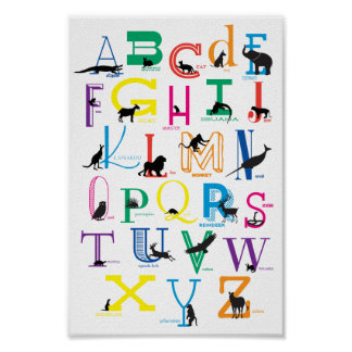 Alphabet with Animal Silhouettes Poster ポスター