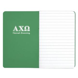 Alphiのキーオメガの白いおよび緑の手紙 ポケットジャーナル
